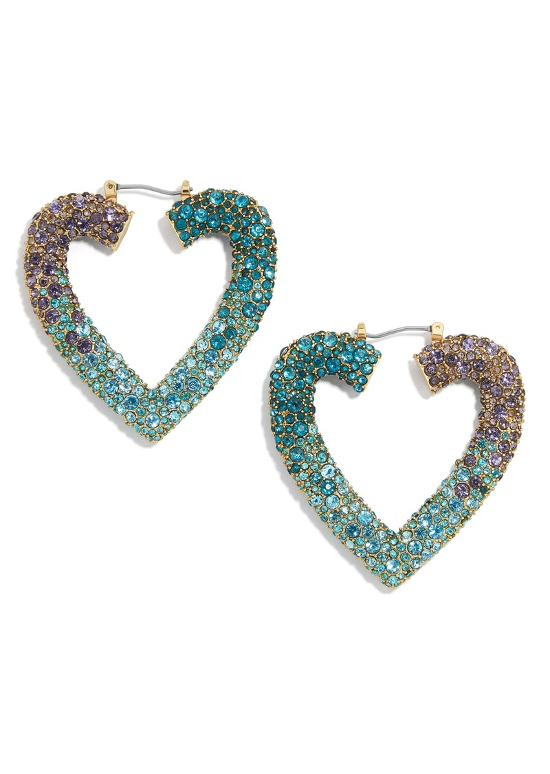 BaubleBar Spectrum Pavé Heart Hoop Earrings