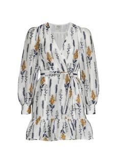 Baum und Pferdgarten Annie Floral-Embroidered Flounce Wrap Dress