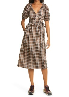 Baum und Pferdgarten Adalaine Gingham Wrap Front Puff Sleeve Dress
