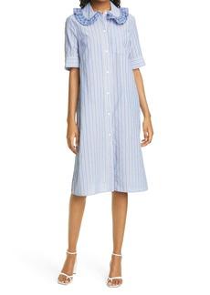 Baum und Pferdgarten Ahjah Stripe & Plaid Ruffle Collar Stretch Cotton Dress
