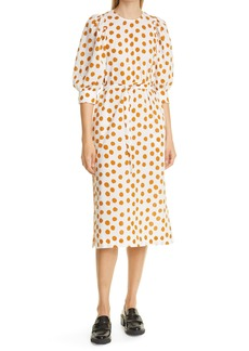 Baum und Pferdgarten Alya Dot Print Seersucker Midi Dress