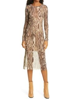 Baum und Pferdgarten Jolanda Long Sleeve Wood Print Midi Dress