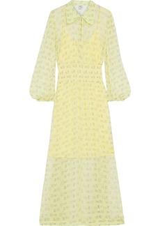 Baum Und Pferdgarten Woman Amber Shirred Printed Georgette Maxi Dress Chartreuse
