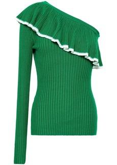Baum Und Pferdgarten Woman Cecia One-shoulder Ruffled Ribbed-knit Top Green