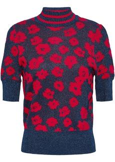 Baum Und Pferdgarten Woman Metallic Jacquard-knit Top Navy