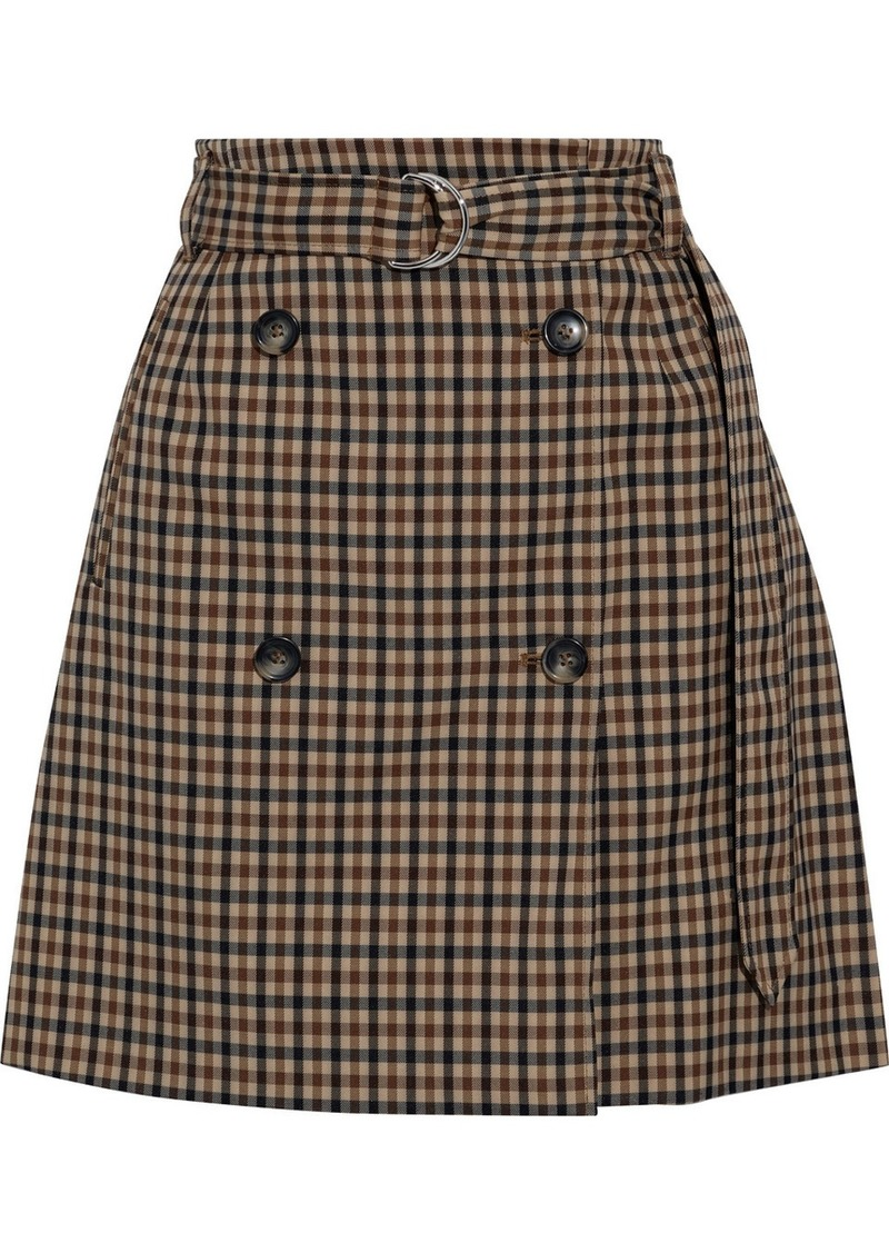 Baum Und Pferdgarten Woman Stacia Belted Checked Jacquard Mini Skirt Light Brown