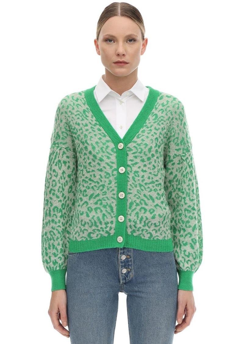 Baum und Pferdgarten Celine Leopard Print Wool Knit Cardigan