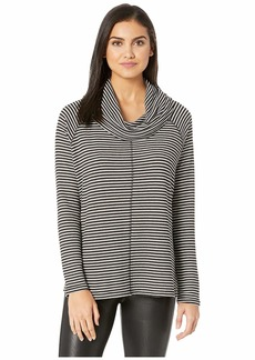 BB Dakota A Stripe Rib Knit Cowl Neck Top