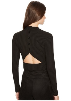 BB Dakota Adria Rib Knit Cut Out Back Mock Neck Top