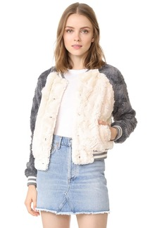 BB Dakota Aisen Faux Fur Color Blocked Bomber