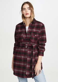 BB Dakota Belted Plaid Coat