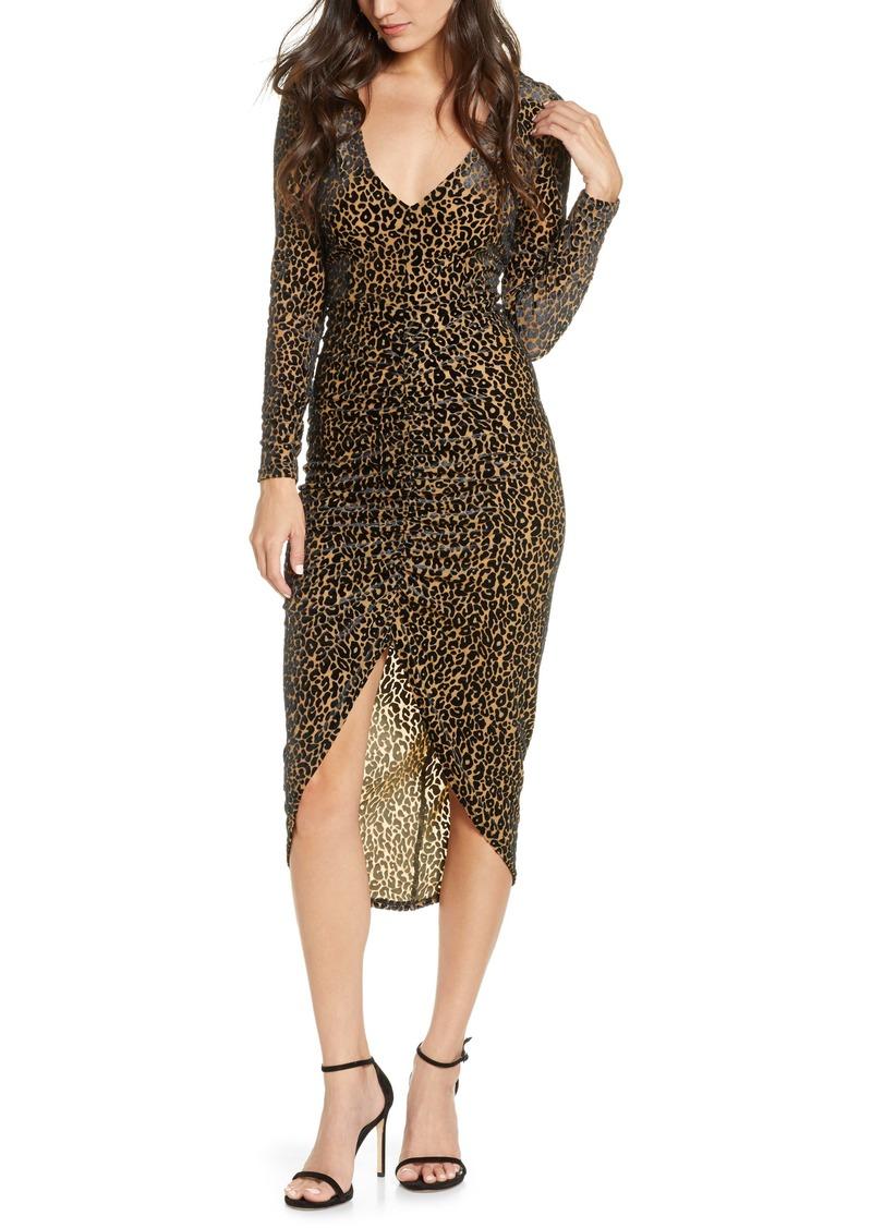 BB Dakota Better to Burnout Leopard Print Long Sleeve Dress