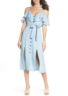 BB Dakota Caite Chambray Cold Shoulder Dress