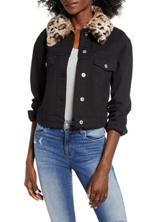 BB Dakota Can't Meow Denim Jacket with Removable Faux Fur Trim