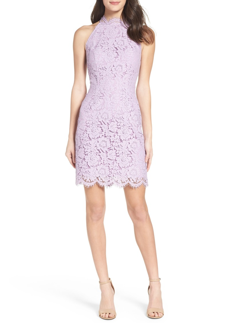 BB Dakota Cara High Neck Lace Cocktail Dress