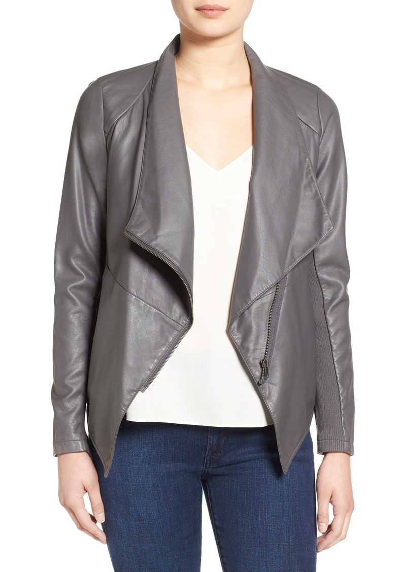 BB Dakota 'Carmen' Faux Leather Drape Front Jacket
