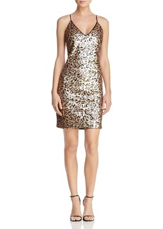 BB DAKOTA Cass Sequined Leopard-Print Mini Dress