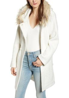 BB Dakota Coat On Ribbed Coat with Faux Fur Trim