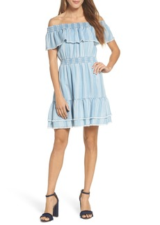 BB Dakota Coco Stripe Off the Shoulder Ruffle Dress