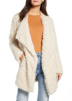 BB Dakota Cozy Faux Fur Drape Front Coat