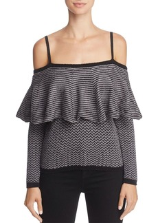 BB DAKOTA Debney Ruffle Cold-Shoulder Sweater