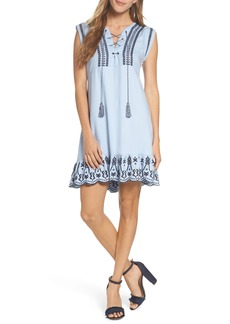 BB Dakota Embroidered Lace-Up Dress