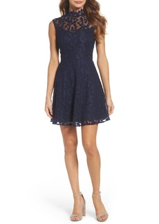 BB Dakota Embroidered Mesh Fit & Flare Dress