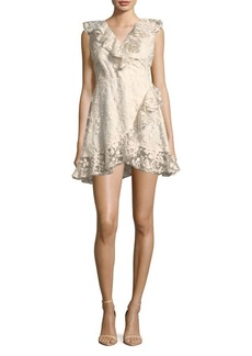 BB Dakota Embroidered Mesh Ruffle Dress