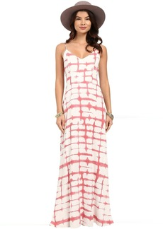 BB Dakota Finnley Pink Plaid Printed Heavy Rayon Maxi Dress