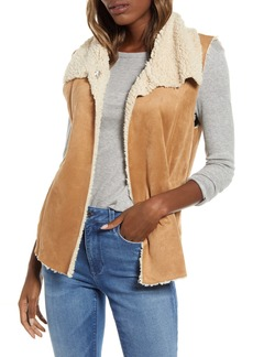BB Dakota Fly Girl Faux Suede Vest with Faux Shearling Trim
