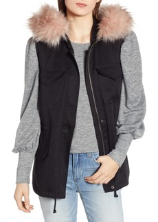 BB Dakota Get Your Swagger On Hooded Vest with Faux Fur Trim