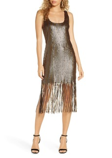 BB Dakota Girl's Best Friend Sequin Fringe Sleeveless Sheath Dress