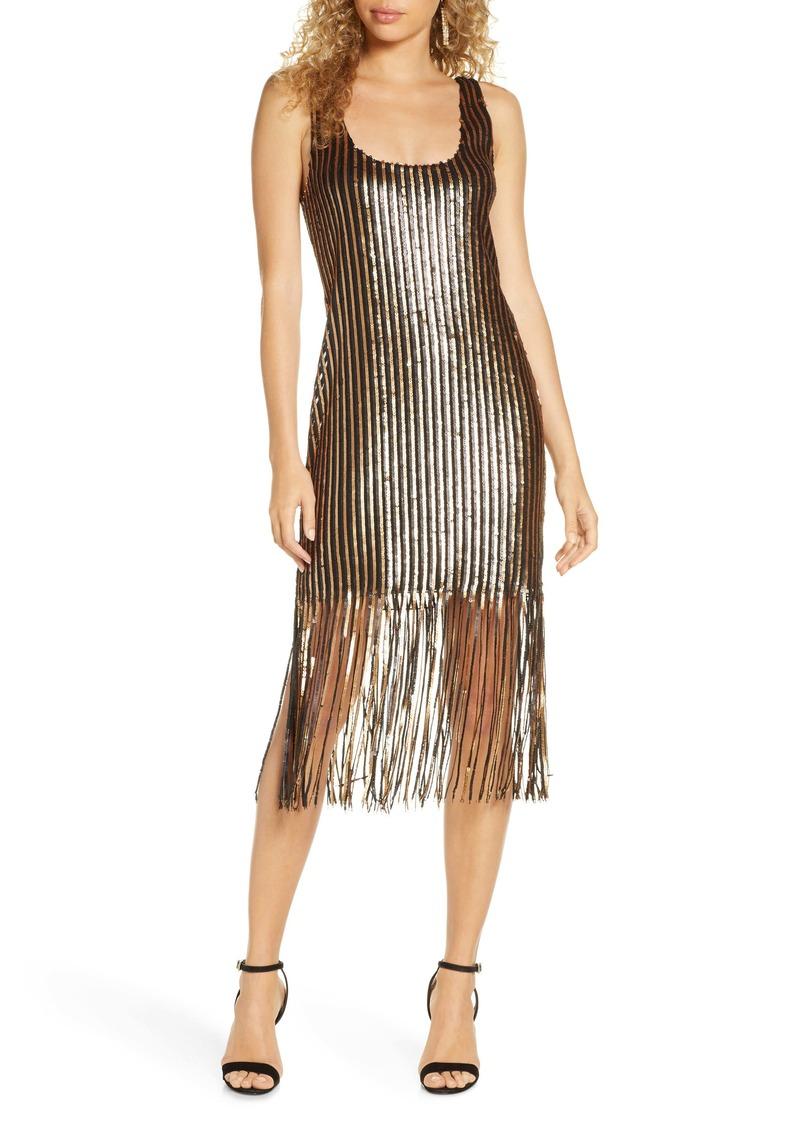 BB Dakota Girl's Best Friend Sequin Fringe Sleeveless Sheath Dress
