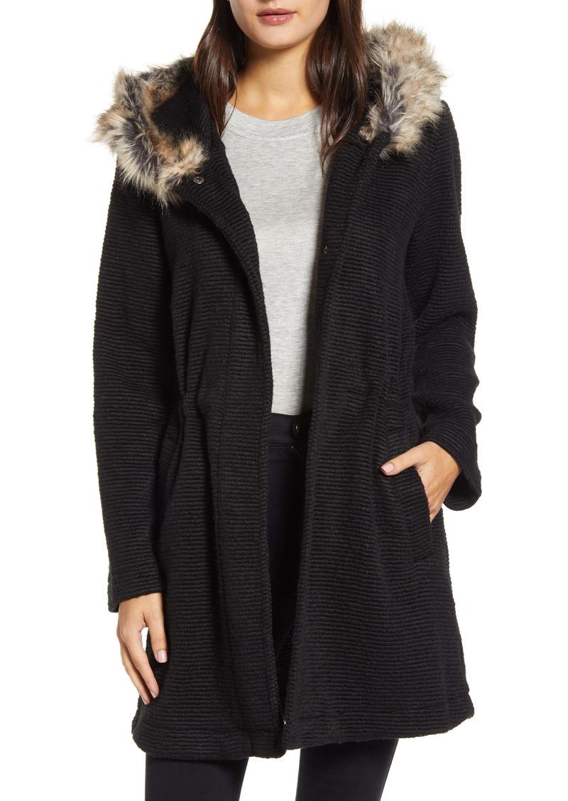 BB Dakota Hooded Coat with Faux Fur Trim