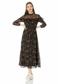 BB Dakota Junior's Floral Attire Jasmine Vine Printed Crinkle Shiffon Dress