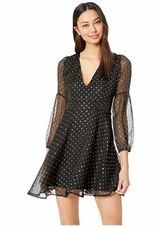 BB Dakota Junior's Gazer Stars foil Printed Crinkle Chiffon Dress