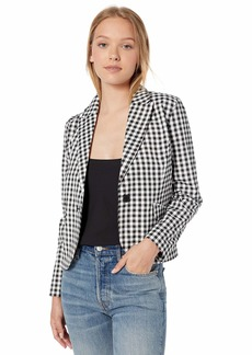BB Dakota Women's Gingham Style Fitted Blazer black large