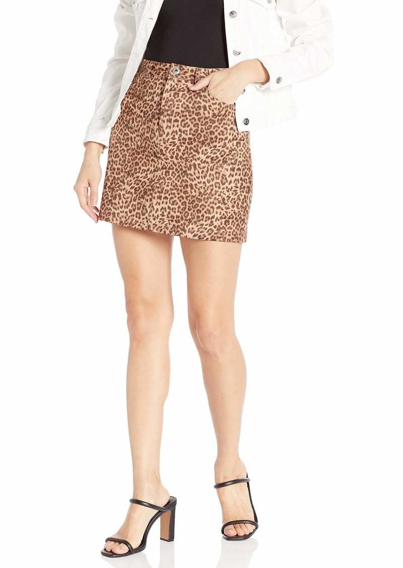 BB Dakota Junior's here Kitty Leopard Printed Faux Suede Mini Skirt