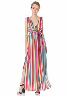 BB Dakota Junior's in The Rainbows Stripe Printed Reverse Crepon Dress Sorbet Extra Small