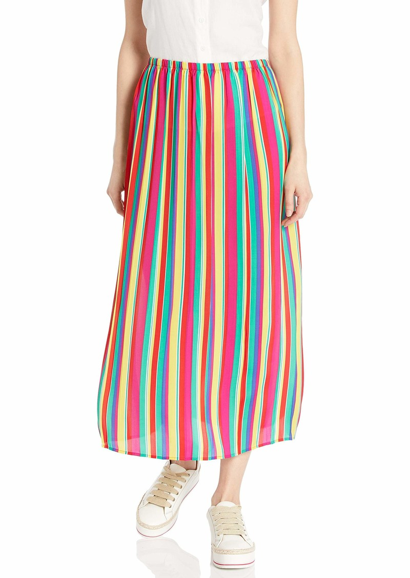 BB DAKOTA Junior's Outside The Lines Striped Reverse Crepon Pleated Skirt