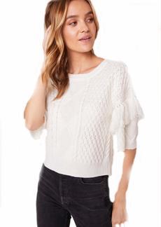 BB Dakota Junior's Short Sleeve Cable Sweater with Fringe