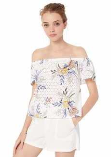 BB Dakota Junior's Sun's Out Printed Off The Shoulder Eyelet top