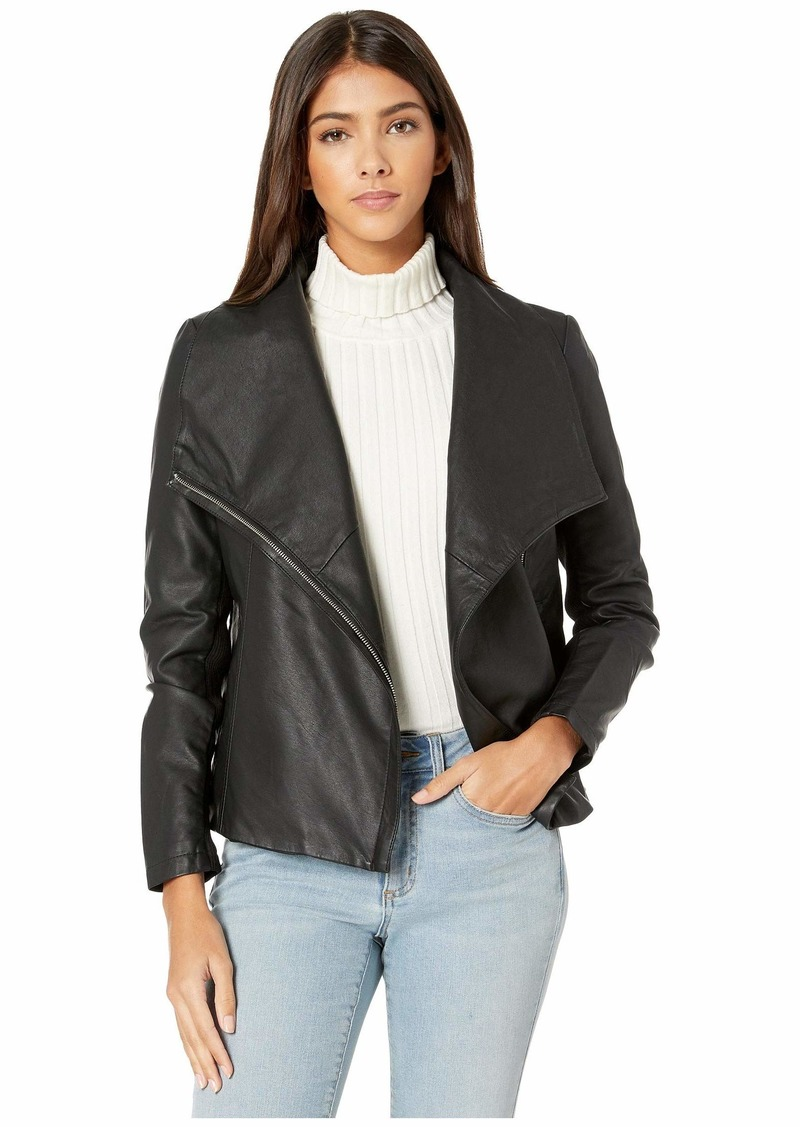 BB Dakota Junior's up to Speed Vegan Leather Jacket with Rib Knit Undersleeve  Extra Small