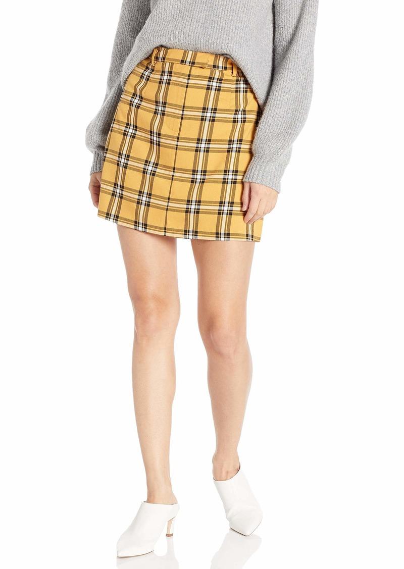 BB Dakota Junior's Whatever Forever Yarn Dyed Plaid Mini Skirt