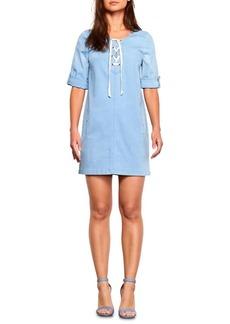 BB Dakota Lace-Up Chambray Shift Dress