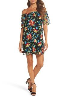 BB Dakota Lacole Embroidered Mesh Shift Dress