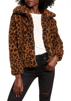 BB Dakota Leopard Print Faux Shearling Jacket