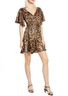 BB Dakota Leopard Print Satin Wrap Dress