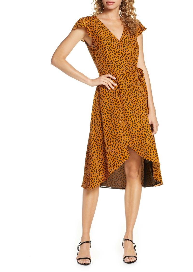 BB Dakota Leopard Print Wrap Midi Dress