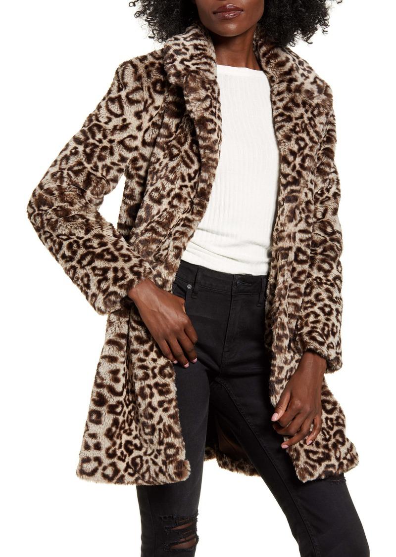 BB Dakota Leopard Spot Faux Fur Coat